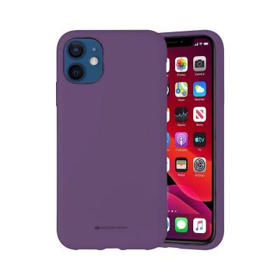 Чехол iPhone 12 mini Goospery Mercury Liquid Silicone, purple